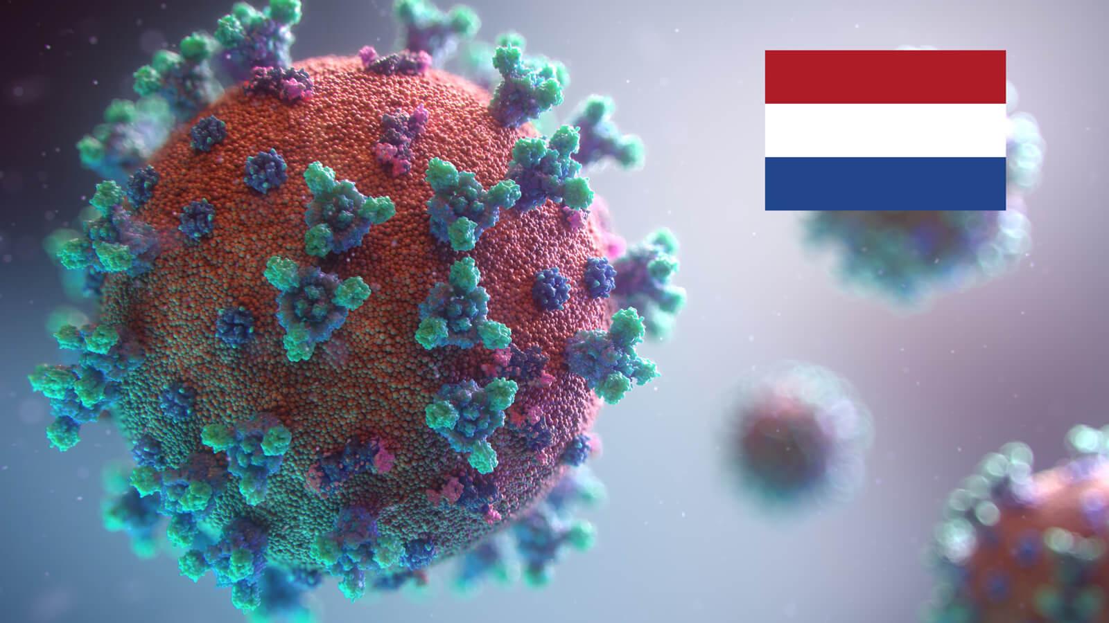 Darstellung Corona Virus mit niederländischer Flagge oben rechts